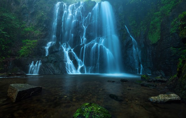 Picture forest, nature, river, stones, rocks, waterfall, haze