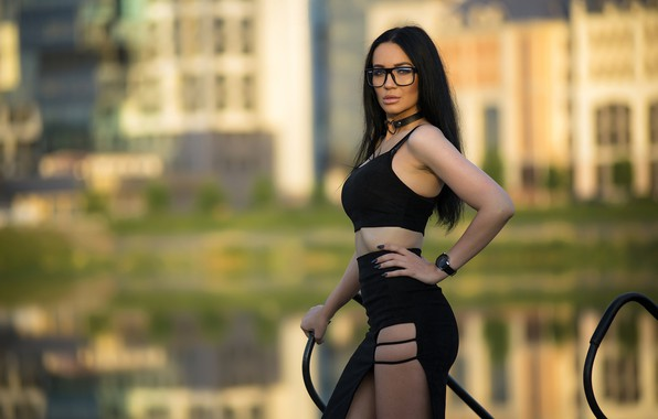 Picture look, pose, model, skirt, portrait, makeup, figure, brunette, glasses, hairstyle, topic, is, in black, bokeh, …