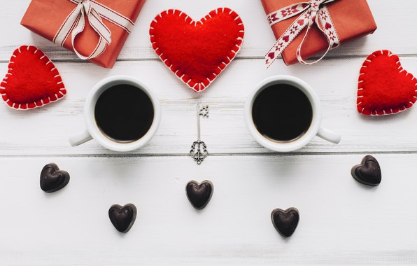 Picture love, gift, heart, hearts, red, love, heart, wood, cup, romantic, valentine's day, gift, coffee