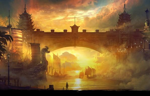Picture sunset, bridge, ships, Blade & Soul