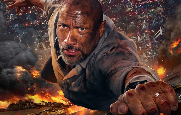 Picture fire, fire, smoke, the building, height, the situation, Skyscraper, Thriller, poster, Dwayne Johnson, Dwayne Johnson, …