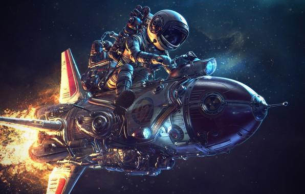 Picture The suit, Rocket, Flame, Art, Kosmosaik
