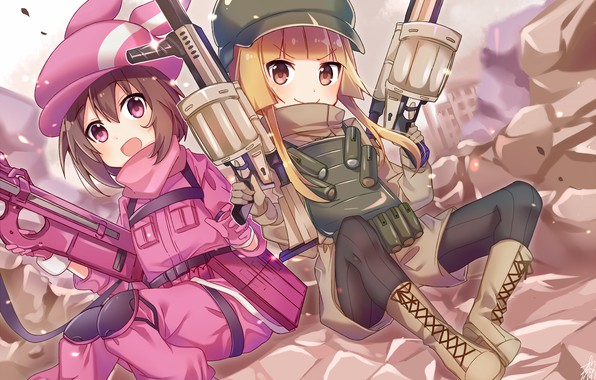 Picture weapons, girls, anime, Sword Art Online, Sword Art Online Alternative: Gun Gale Online