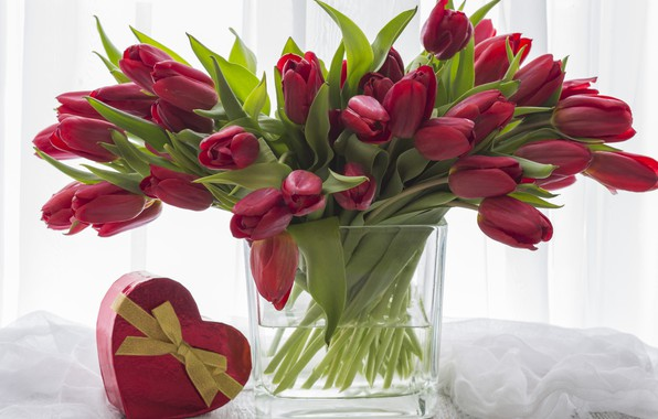 Picture flowers, gift, heart, bouquet, tulips, red, red, love, heart, flowers, beautiful, romantic, tulips, valentine's day, …