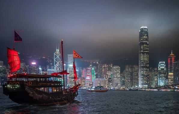 Picture sea, night, the city, ship
