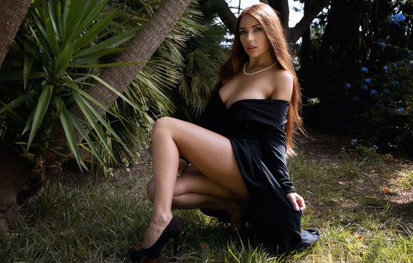 Picture greens, grass, look, trees, pose, palm trees, model, portrait, makeup, garden, figure, dress, hairstyle, shoes, …