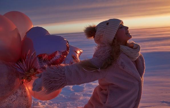 Picture winter, balloons, mood, hat, girl, coat, Alexander Grankin
