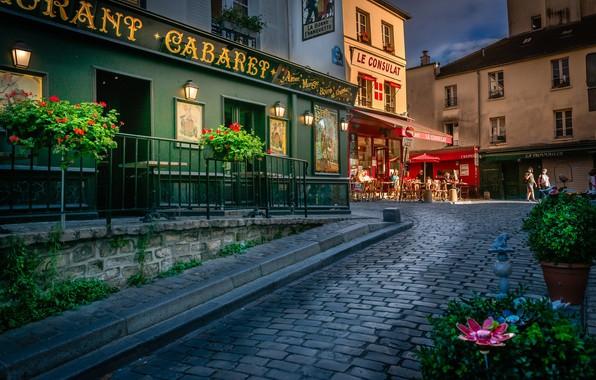 Picture flowers, France, Paris, building, home, Paris, France, street, Montmartre, Montmartre