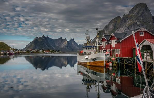 Picture sea, landscape, mountains, clouds, nature, rocks, home, ships, pier, village, Norway, The Lofoten Islands, The …