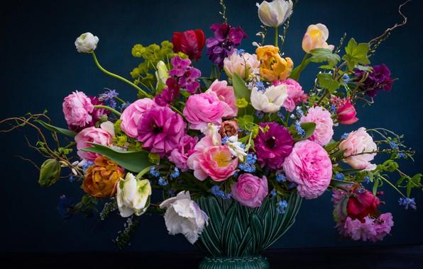 Picture flowers, background, roses, bouquet, tulips, vase, forget-me-nots, Ranunculus, Erysimum