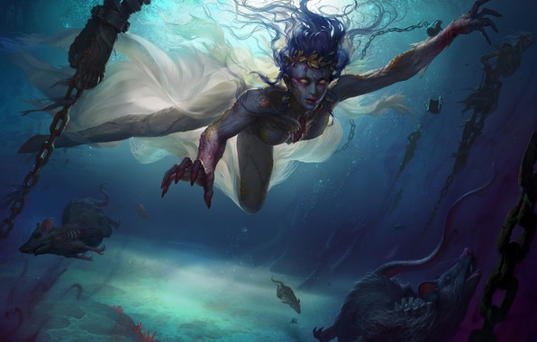 Picture look, water, girl, fantasy, art, rats, chain, dark fantasy
