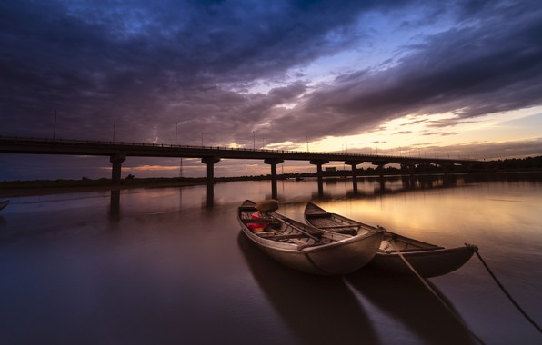 Picture the sky, water, clouds, landscape, sunset, clouds, bridge, river, two, boats, the evening, silhouette, shadows, …