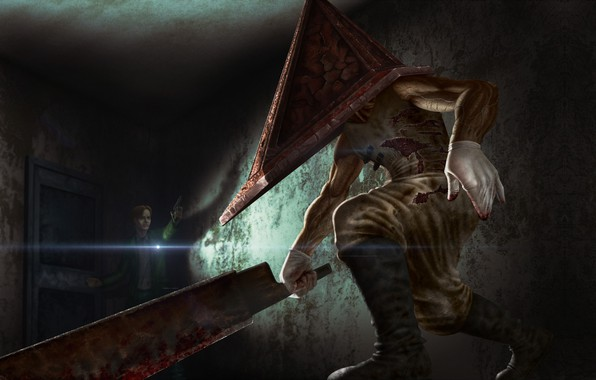 Picture fiction, the game, art, Silent Hill, Pyramid head, The boogeyman, Oleg Nikolaev, Pyramid head
