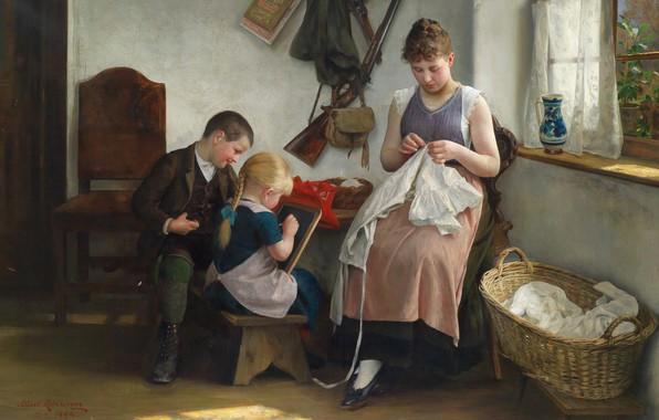 Picture 1892, Austrian painter, Austrian painter, oil on canvas, Family idyll, Albert Ritzberger, Albert Ritzberger, Family …
