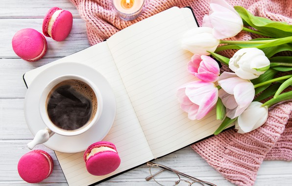 Picture colorful, tulips, pink, tulips, coffee cup, macaroons, macaron, a Cup of coffee, macaroon