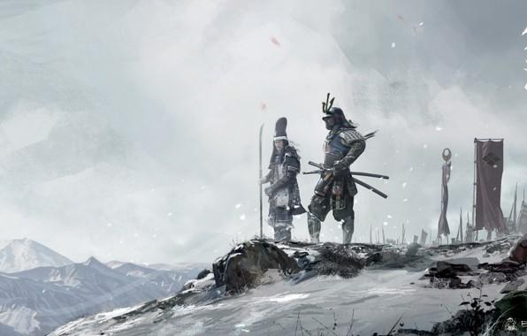 Picture winter, snow, Asia, Japan, warriors, samurai, warlords, David Benzal, asia legends