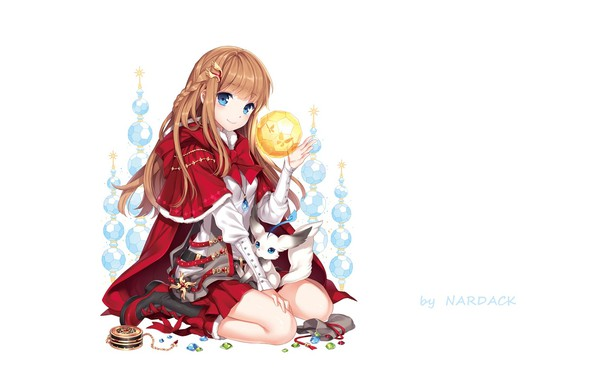 Picture magic, girl, white background, crystals, girl, jewelry, blue eyes, sorceress, Cape, art, on my knees, …