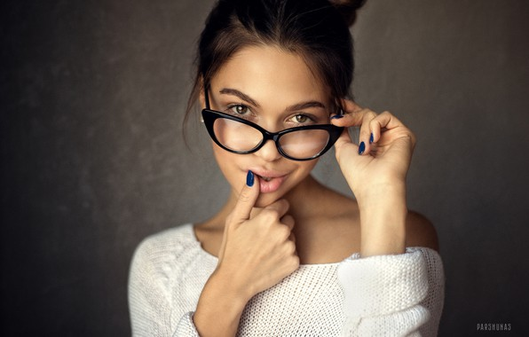 Picture look, pose, background, model, portrait, makeup, glasses, hairstyle, brown hair, beauty, in white, bokeh, dark, …