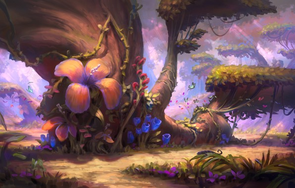 Picture butterfly, flowers, nature, tree, art, illustration