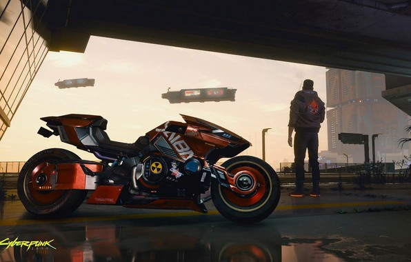 Picture city, Motorcycle, game, rpg, gaming, shooter, action, video game, Cyberpunk 2077, PS4, Xbox one, sci …
