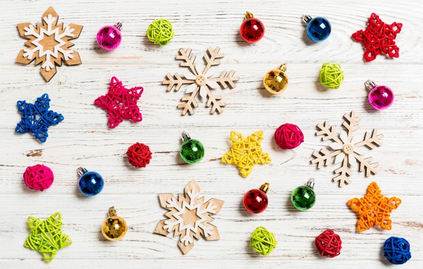 Picture snowflakes, table, toys, New year, Christmas decorations