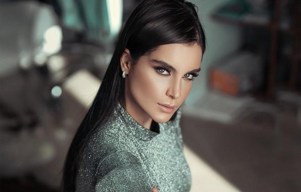 Picture look, background, model, portrait, makeup, dress, brunette, hairstyle, beauty, bokeh, Pagani Ali