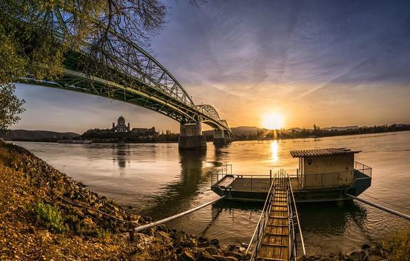 Picture autumn, the sky, bridge, river, dawn