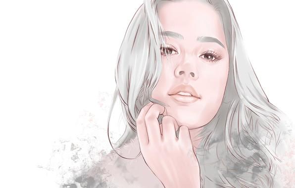 Picture Girl, long hair, art, face, artwork, portrait, simple background