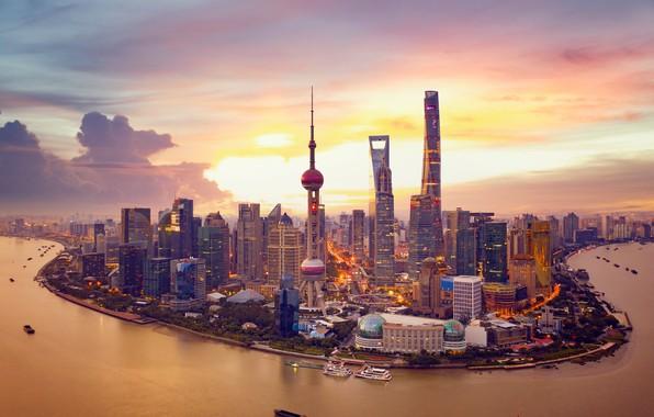 Picture sunset, river, China, building, tower, home, China, Shanghai, Shanghai, skyscrapers, Huangpu River, The Huangpu River