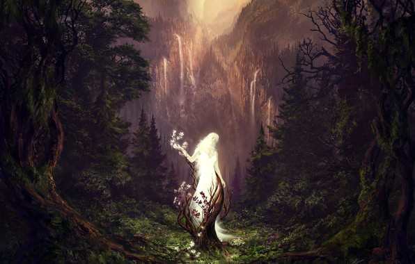 Picture forest, mountains, waterfall, The Sleeping Green, Fell into the