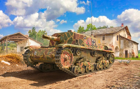 Picture art, painting, tank, ww2, M41