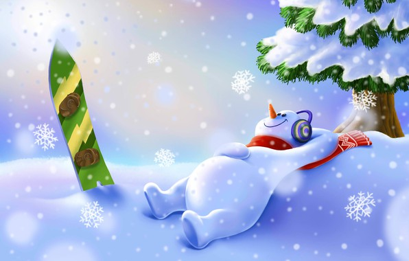 Picture Winter, Snow, Christmas, Snowflakes, Background, New year, Holiday, Snowboard, Illustration, Snowman, Snowman, by Aidar Salimov, …