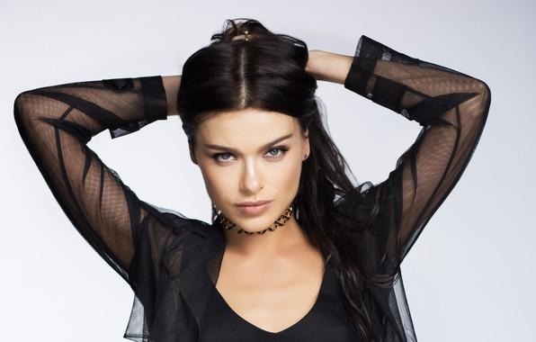Picture look, girl, pose, makeup, brunette, singer, TV presenter, Elena Temnikova, Elena Temnikova