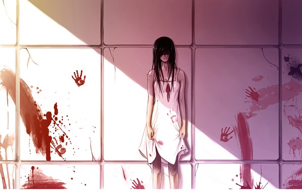 Picture the victim, horror, black hair, killer, blood, the wall, blood spatter, light and shadow, blood …