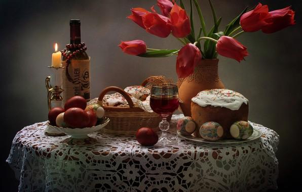 Picture flowers, wine, glass, bottle, eggs, Easter, tulips, still life, cake, eggs