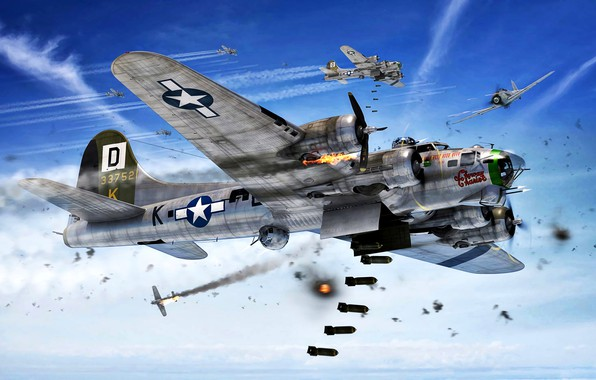 Picture attack, B-17G, The second World war, Luftwaffe, vapor trail, Fw.190A, bombs, war in the air, …
