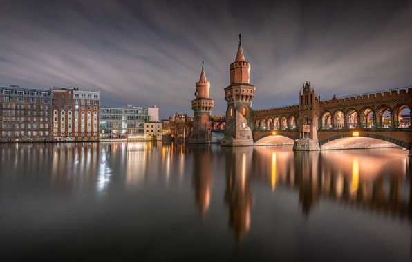 Picture bridge, reflection, river, building, home, Germany, Germany, Berlin, Berlin, Oberbaum, River Spree, The Upper Tree …