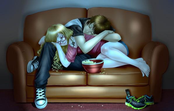 Picture girl, sofa, guy, sleep