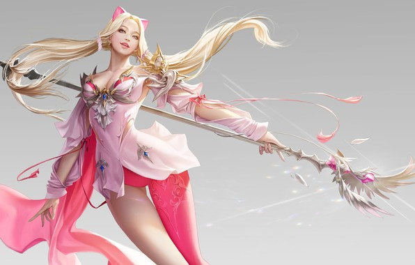 Picture look, girl, pose, fantasy, weapons, background, art, ears, art