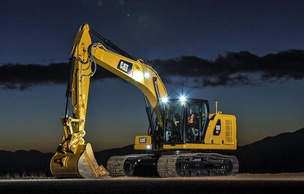 Picture the sky, light, night, lights, excavator, caterpillar, bucket, CAT, Caterpillar, construction equipment, the excavator boom, …