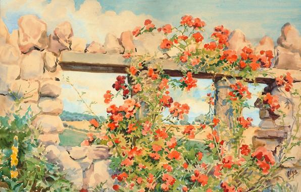 Picture the sky, clouds, flowers, stones, Watercolor, destroyed house, Olga Kulikovskaya-Romanova