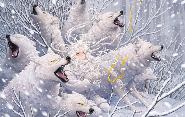 Picture predators, wool, mouth, fangs, grin, baby, yellow eyes, a pack of wolves, mater, kneeling, wolf …