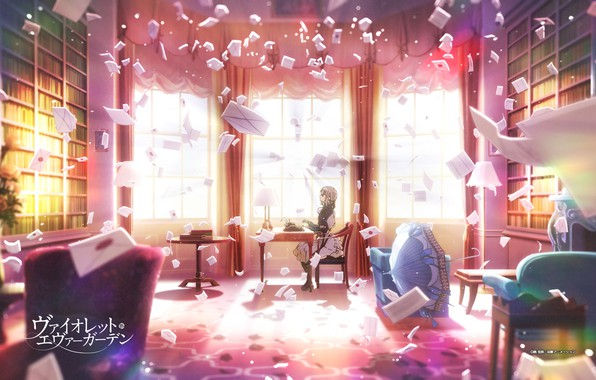 Picture table, books, chair, umbrella, window, typewriter, library, rays of light, the maid, in the room, …