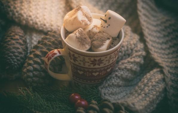 Picture mood, Christmas, mug, snowman, bumps, hot chocolate, marshmallows, marshmallow
