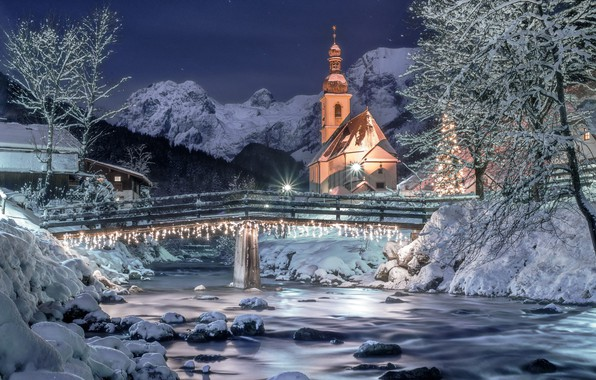 Picture winter, the sky, snow, landscape, mountains, night, nature, river, stars, Germany, lighting, Alps, Church, the …