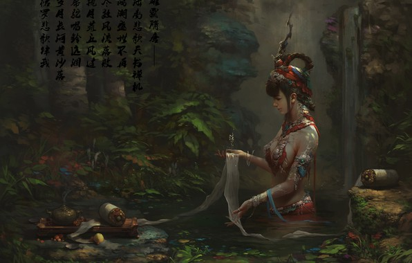 Picture decoration, stream, waterfall, ritual, hairstyle, characters, priestess, art, fairy forest, scroll, rite, Zhao Huanhua
