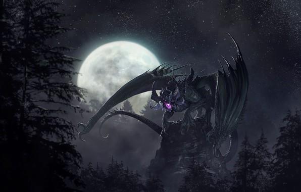 Picture night, fantasy, the moon, dragon, art, the full moon, Godfrey Escota, Signoir