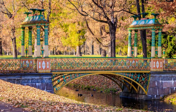 Picture autumn, leaves, trees, bridge, Park, river, colorful, river, nature, bridge, park, autumn, leaves, tree
