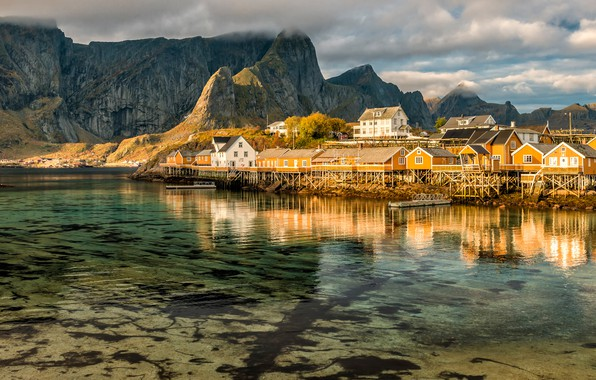 Picture the sky, water, clouds, reflection, landscape, mountains, nature, rocks, shore, tops, the bottom, boats, Norway, ...