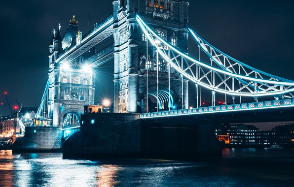 Picture water, light, night, bridge, city, the city, lights, river, London, night city, Tower bridge, water